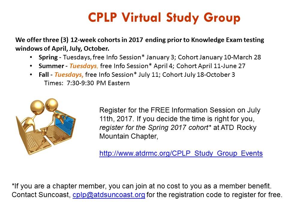 Atd Florida Suncoast Chapter 2017 Fall Cplp Virtual Study Group
