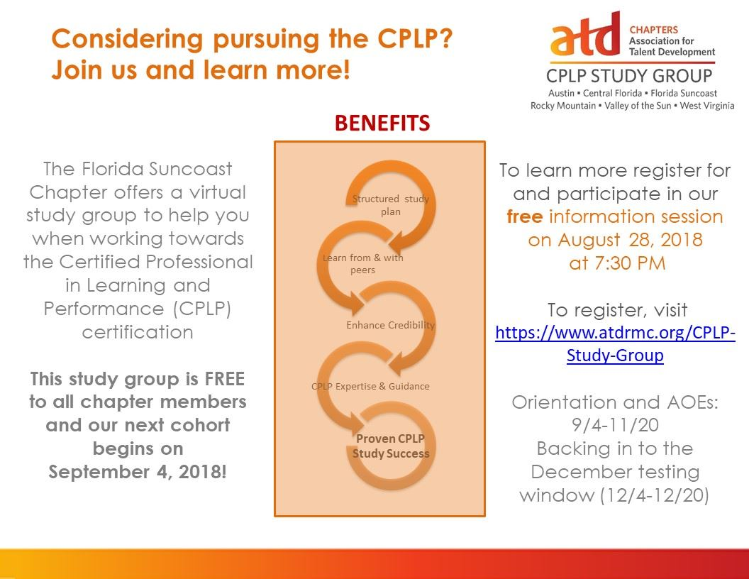 Atd Florida Suncoast Chapter Cplp Certification